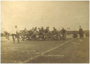 A 1902 football game between Michigan and Minnesota- the game bore no resemblance to soccer