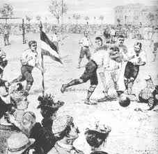 """In old England """"football"""" was serious stuff"""