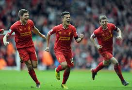 Coutinho celebrates winner against Manchester City